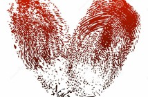 Bloody fingerprints form a heart shape