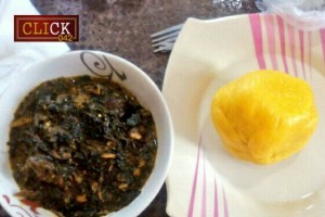 Plates of swallow and soup, food served in Enugu Restaurant