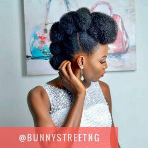natural hair wedding style, kinky bun hawk updo