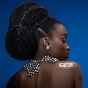 avant garde wedding hairstyle, braided bun on natural hair
