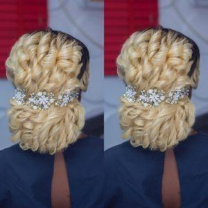 curly blonde wedding hairstyle, low bun with wedding hair piece