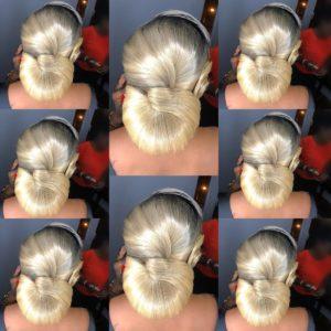 Elegant blonde twisted low bun wedding hairstyle