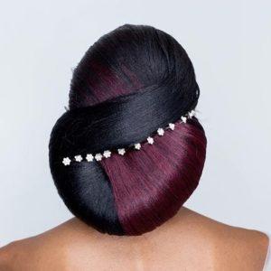 two-tone sleek low bun hairstyle with wedding hair pins