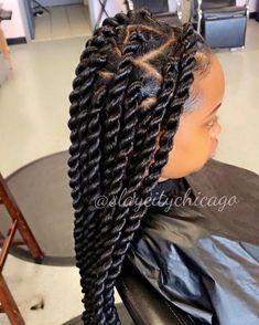 black girls wearing jumbo twists with triangle part box braid styles