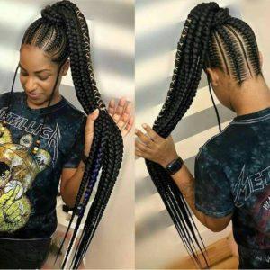 black woman wearing gorgeous stitch braids box braid styles