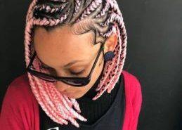 woman wearing pink chunky bob box braids