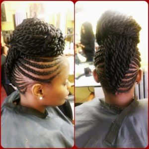cornrows meeting in the centre like a mohawk, then pulled into a bun